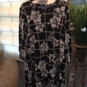 Brand new black & white flowered dress